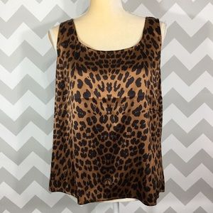 St John cheetah silk spring summer shell tank top